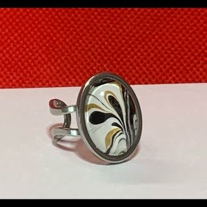 Stainless Steel Glass Pour Paint Ring Gold Black